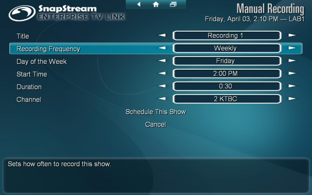 Setting up a manual recording in Enterprise TV Link