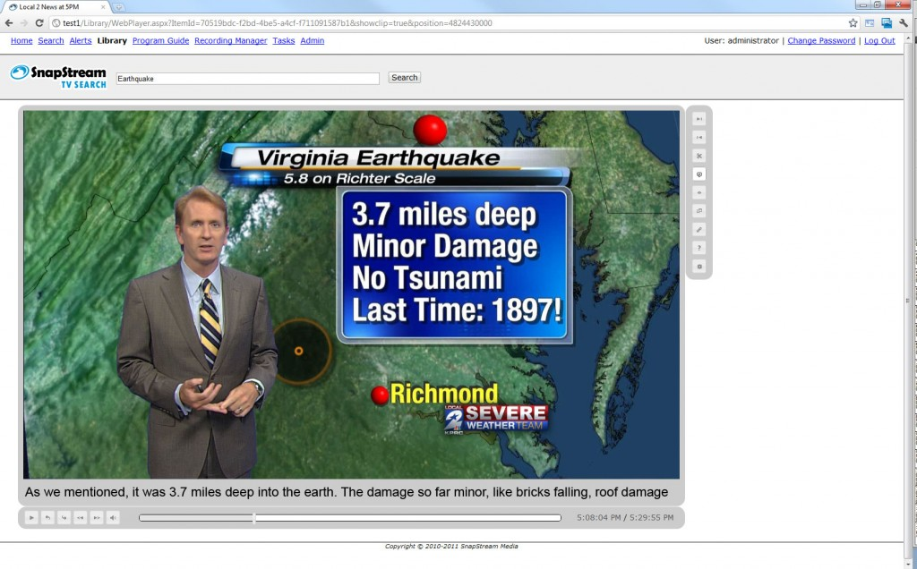 East coast earthquake on TV news