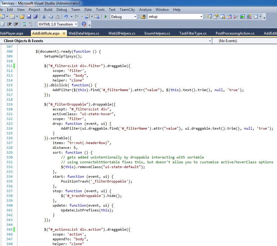 Alec's handiwork in Microsoft Visual Studio