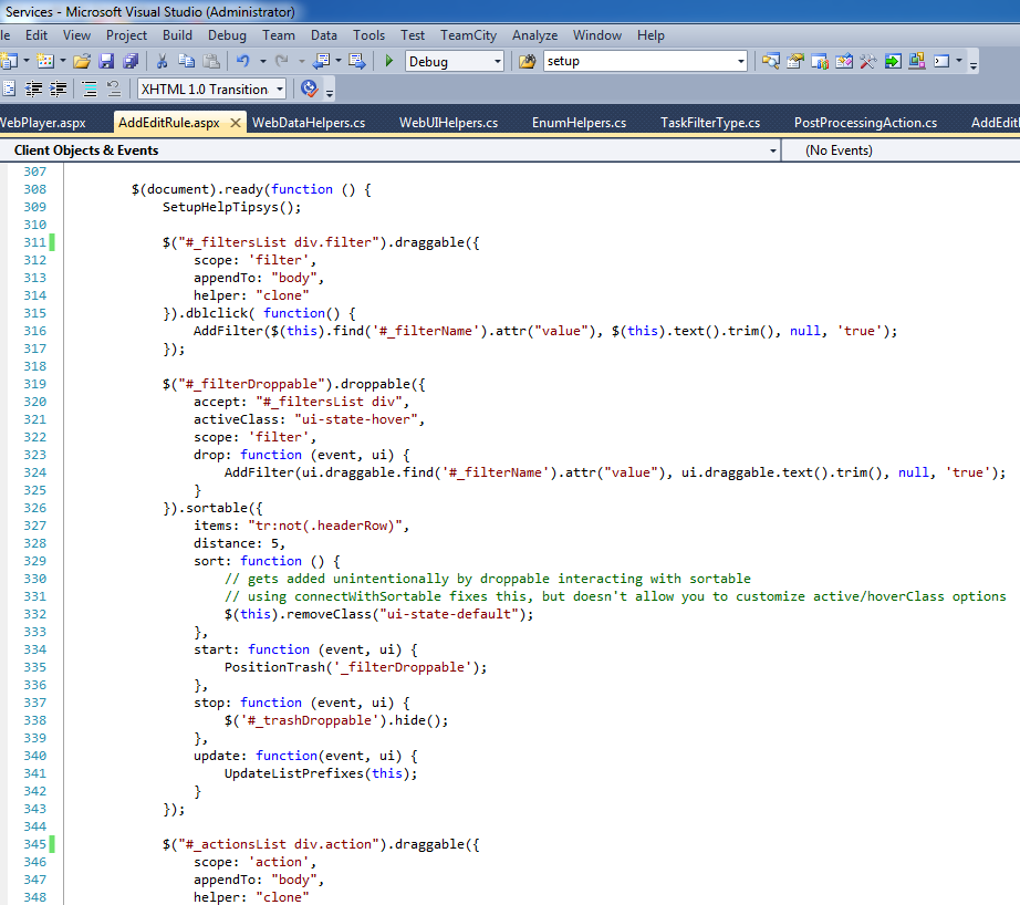 Alec's handiwork in Microsoft Visual Studio