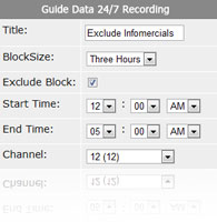 Exclude time from 24/7 recordings