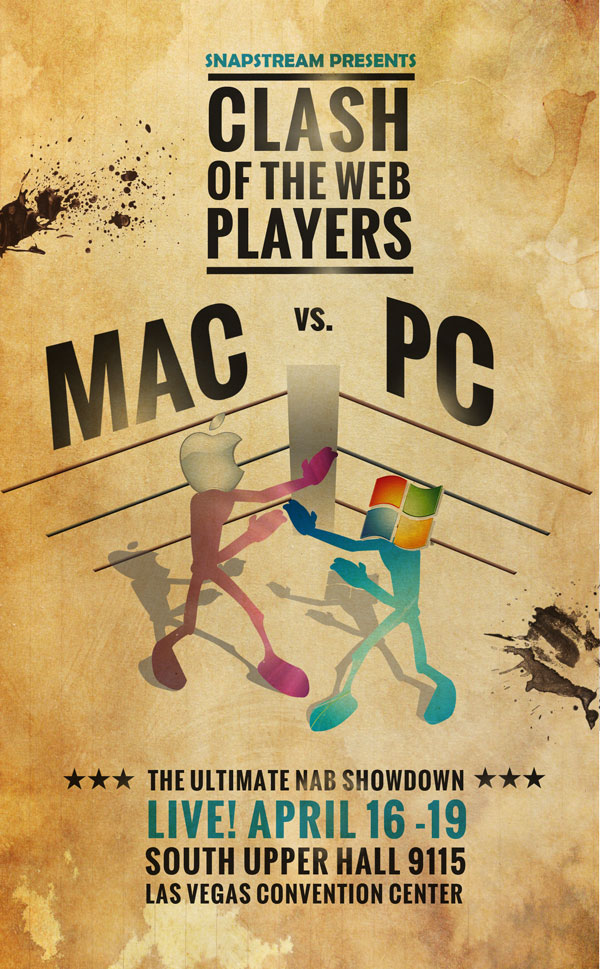 Clash of the Web Players. Mac vs. PC. April 16-19 in South Upper Hall SU 9115.
