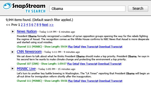 TV search results collapsed