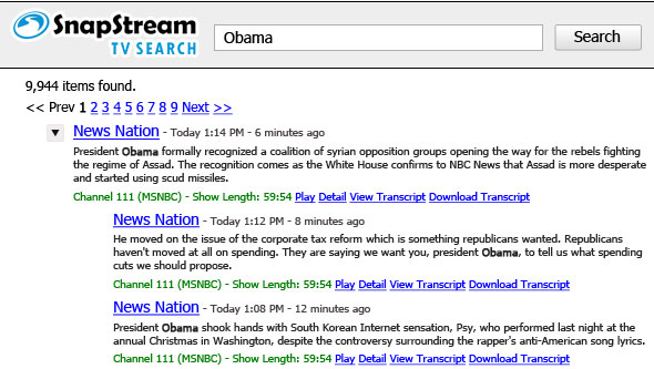 TV search results expanded