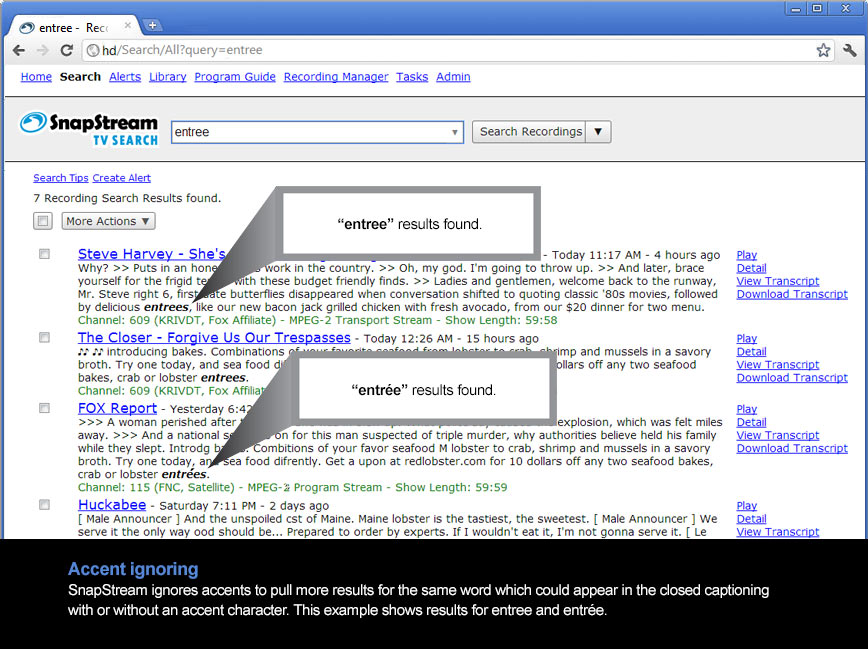 Accent ignoring yields higher quality TV Search results