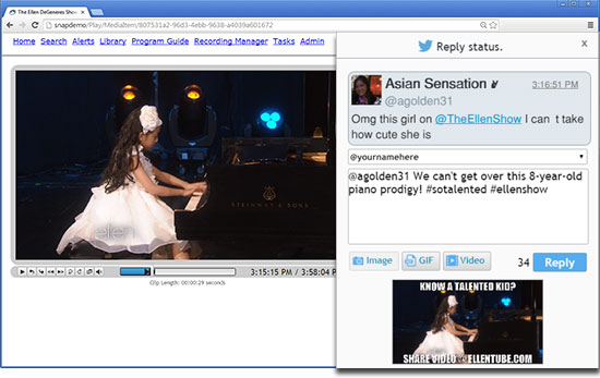 Reply to tweets with TV clips, screenshots and animated GIFs