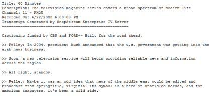 sample TV closed-captioning transcript of 60 minutes